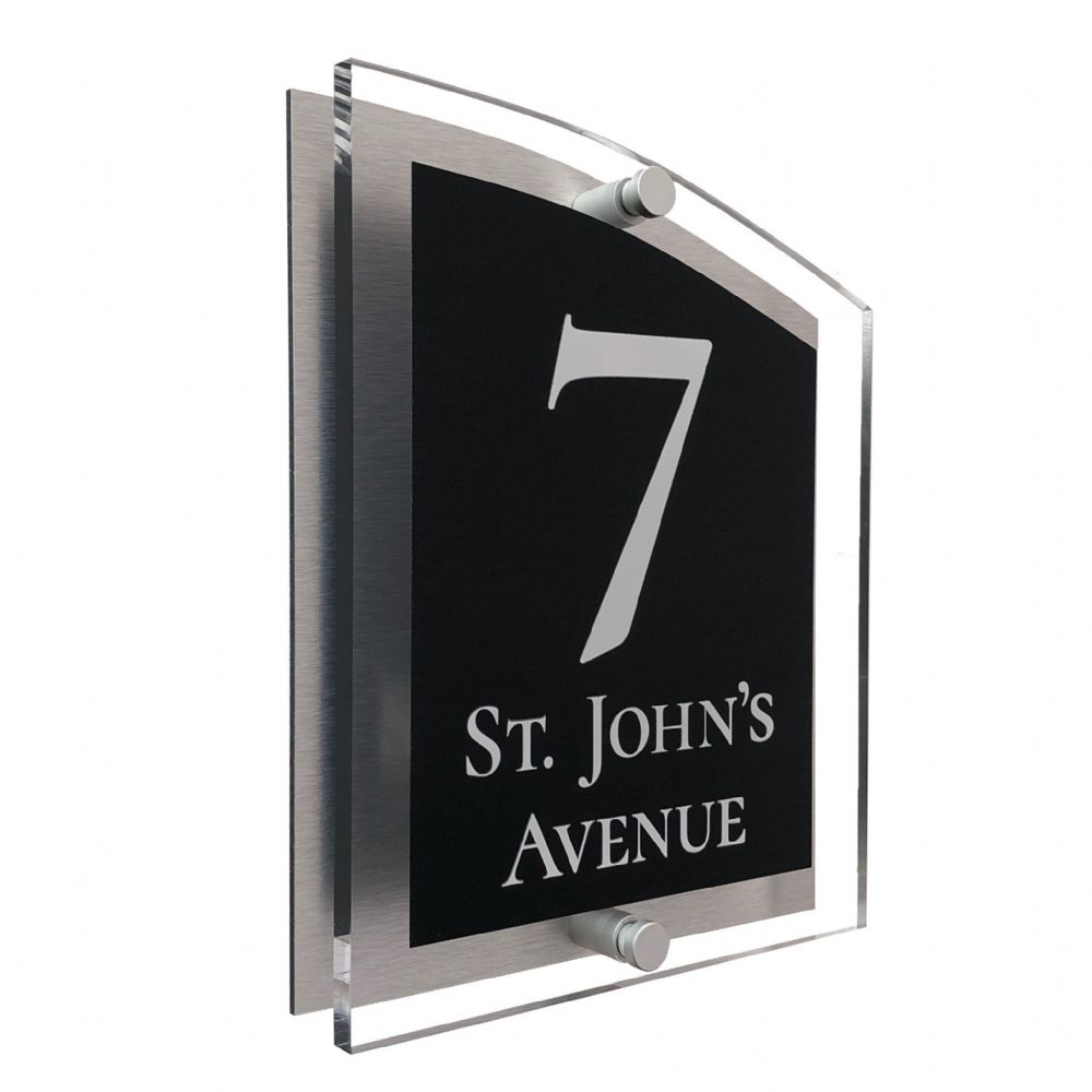 Arc Shape - Clear Acrylic House Sign - Black Colour with White text in Font  2